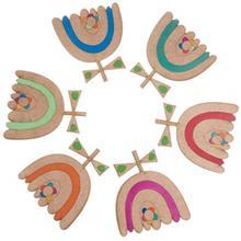 زير ليواني چوبي مها مدل گل لاله کد MAH 54 007 بسته 6 تايي