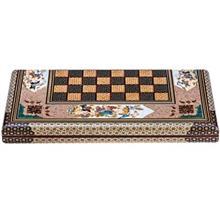 صفحه شطرنج خاتم اثر کروبي مدل لبه گرد طرح شکار طول 50 سانتي متر