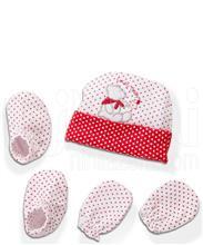 ست کلاه دستکش پاپوش خالدار خرسی لاکی بی بی Lucky Baby