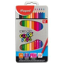 مداد رنگی 12 رنگ مپد مدل کالر پپس با جعبه فلزی