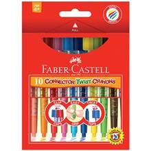 مداد شمعي 10 رنگ فابر کاستل مدل Connector Twist
