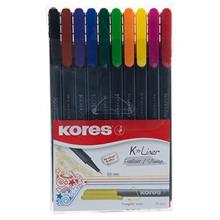 Kores K Liner Fineliner 10 Color Rollerball Pen
