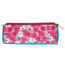 Clips Cylindrical Flower Design Pencil Case