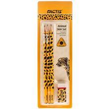 مداد مشکي فکتيس طرح چيتا - بسته 3 عددي به همراه پاک کن