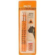 مداد مشکي فکتيس طرح ببر - بسته 3 عددي به همراه پاک کن