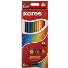 مداد رنگي 12 رنگ کورس مدل Kolores