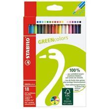 مداد رنگي استابيلو گرين کالرز 18 رنگ