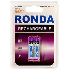 Ronda 400mAh Ni-CD Rechargeable AAA Battery Pack Of 2
