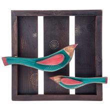تابلو چوبی گالری ویلو وود مدل برجسته طرح دو پرنده