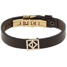 دستبند چرمی الف دال طرح 7 با پلاک طلا