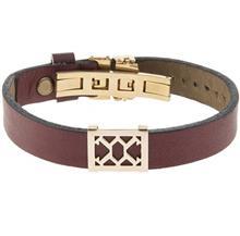 دستبند چرمی الف دال طرح 8 با پلاک طلا