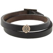 دستبند چرمی الف دال طرح 16 با پلاک طلا