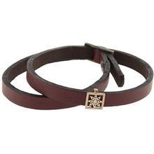 دستبند چرمی الف دال طرح 22 با پلاک طلا