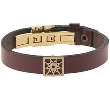 دستبند چرمی الف دال طرح 24 با پلاک طلا