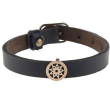 دستبند چرمی الف دال طرح 29 با پلاک طلا
