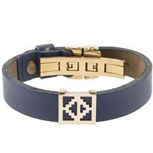 دستبند چرمی الف دال طرح 31 با پلاک طلا