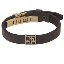 دستبند چرمی الف دال طرح 35 با پلاک طلا