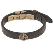 دستبند چرمی الف دال طرح 40 با پلاک طلا