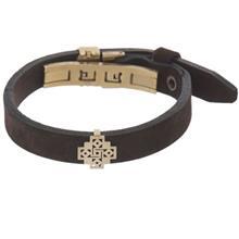 دستبند چرمی الف دال طرح 41 با پلاک طلا