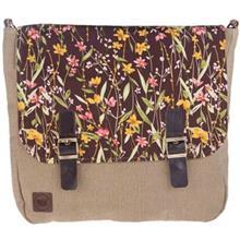 کیف دوشی پارچه ای گالری آزاده مدل دو سگک طرح گل عروس