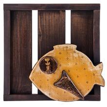 تابلو چوبی گالری ویلو وود مدل برجسته طرح ماهی طلایی