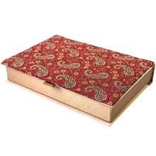 جعبه کارد و چنگال ترمه سنا مدل کتابی طرح بته قرمز