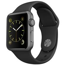 Apple Watch 38mm Space Gray Aluminum Case with Black Sport Band