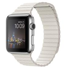 Apple Watch 42mm Steel Case with Large White Leather Loop Band