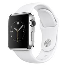 AppleWatch 38mm Stainless Steel Case with White Sport Band