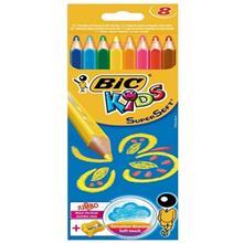مداد رنگي 8 رنگ بيک مدل جامبو سوپر سافت