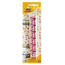 مداد مشکي بيک مدل Evolution طرح Hello Kitty بسته 3 عددي
