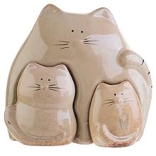 Mother Cat And Two Kitties Statue