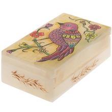 جعبه سنگ مرمر اثر بابايي طرح پرنده صورتي سايز 12 × 7 سانتي متر