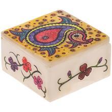 جعبه سنگ مرمر اثر بابايي طرح بته جقه هندي زمينه زرد سايز 10 × 10 سانتي متر