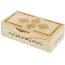 جعبه سنگ مرمر اثر بابايي طرح طلايي و سبز سايز 20 × 10 سانتي متر