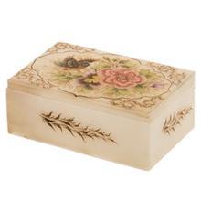 جعبه سنگ مرمر اثر بابايي طرح گل و پرنده در حال پرواز سايز 15 × 10 سانتي متر