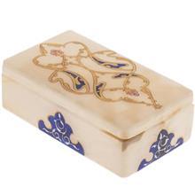 جعبه سنگ مرمر اثر بابايي طرح خطايي طلايي سايز 12 × 7 سانتي متر