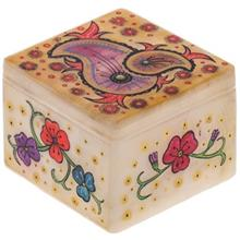 جعبه سنگ مرمر اثر بابايي طرح بته جقه هندي صورتي سايز 8 × 8 سانتي متر