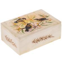 جعبه سنگ مرمر اثر بابايي طرح سه پرنده سايز 15 × 10 سانتي متر