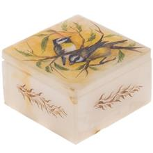 جعبه سنگ مرمر اثر بابايي طرح دو پرنده سايز 10 × 10 سانتي متر