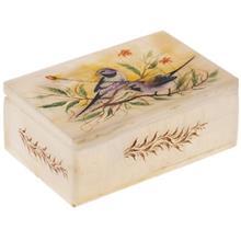 جعبه سنگ مرمر اثر بابايي طرح دو پرنده بنفش سايز 15 × 10 سانتي متر
