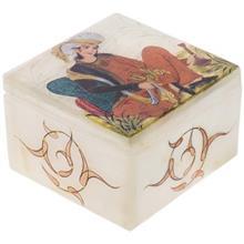 جعبه سنگ مرمر اثر بابايي طرح زن سبو به دست سايز 9 × 9 سانتي متر