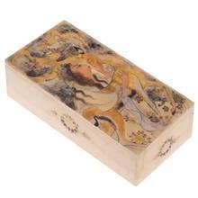 جعبه سنگ مرمر اثر بابايي طرح زن نشسته و آهو سايز 20 × 10 سانتي متر