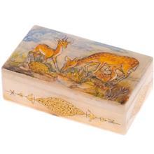 جعبه سنگ مرمر اثر بابايي طرح آهوهاي چراگاهي سايز 12 × 7 سانتي متر