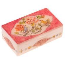 جعبه سنگ مرمر اثر بابايي طرح گل و مرغ با حاشيه قرمز سايز 12 × 7 سانتي متر