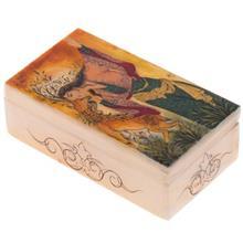 جعبه سنگ مرمر اثر بابايي طرح مينياتور زن و آهو سايز 12 × 7 سانتي متر