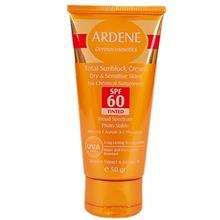 کرم ضد آفتاب رنگي و فاقد جاذب هاي شيميايي آردن SPF60