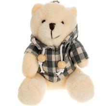 عروسک پوليشي مدل آويز خرس چهارخانه سايز خيلي کوچک