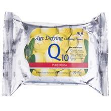 دستمال مرطوب پاک کننده آرایش پیوردرم مدل Age Defying Q10 - بسته 30 عددی