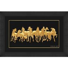 تابلوی طلاکوب زرسام طرح Animal Herd Of Horse سایز بزرگ